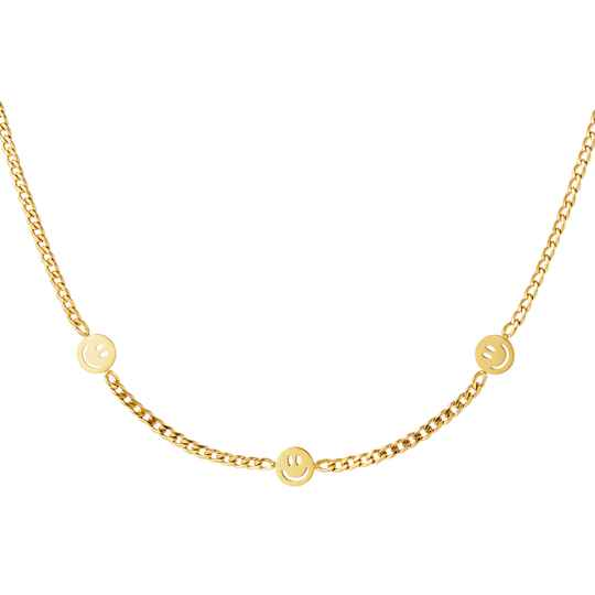 Chain necklace three smileys | goud