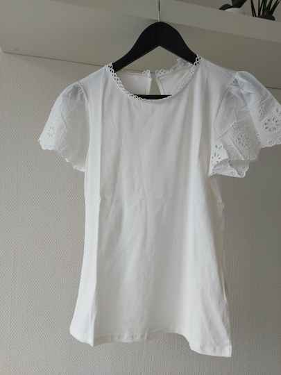Beau broderie top   wit