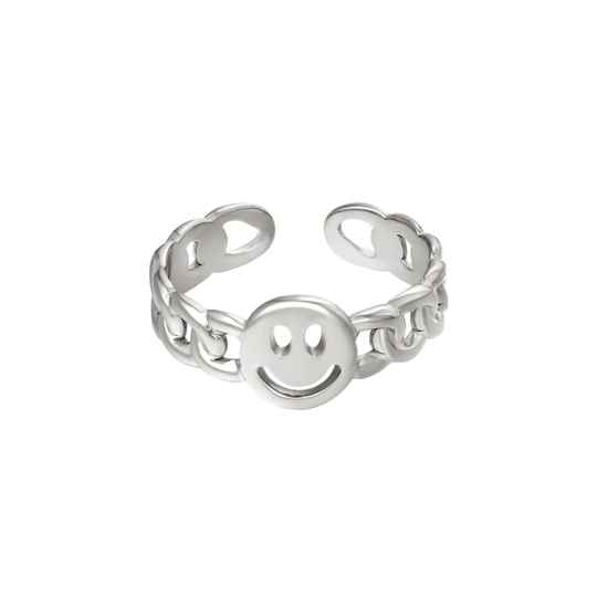 Chain ring smiley | zilver