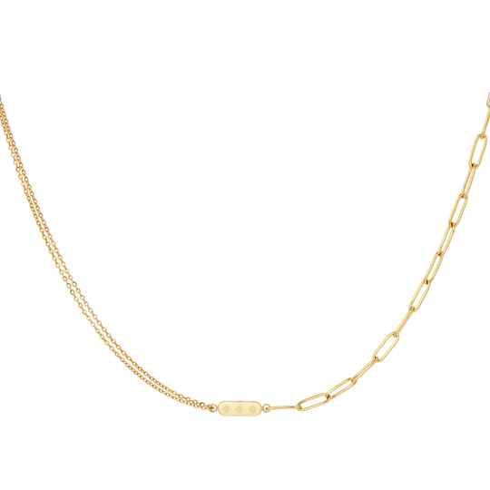 Different chain necklace charm | goud