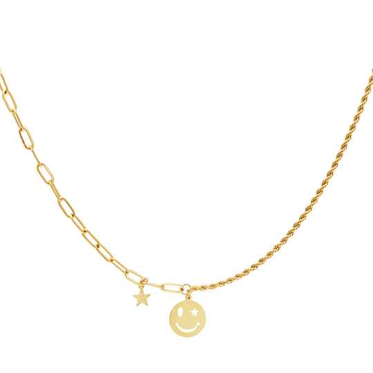 Necklace different chain smiley | goud