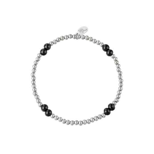 Armband black pearl | zilver