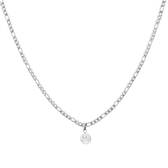 Ketting chain smiley | zilver