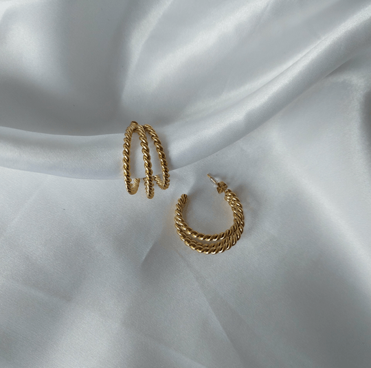 Triple earrings twisted | gold