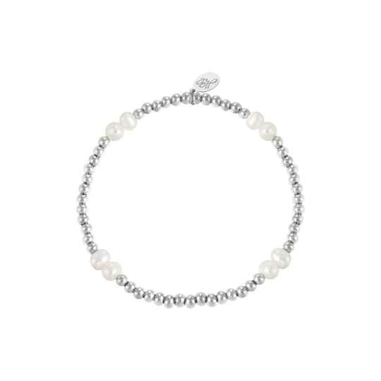 Armband pearl mix   zilver