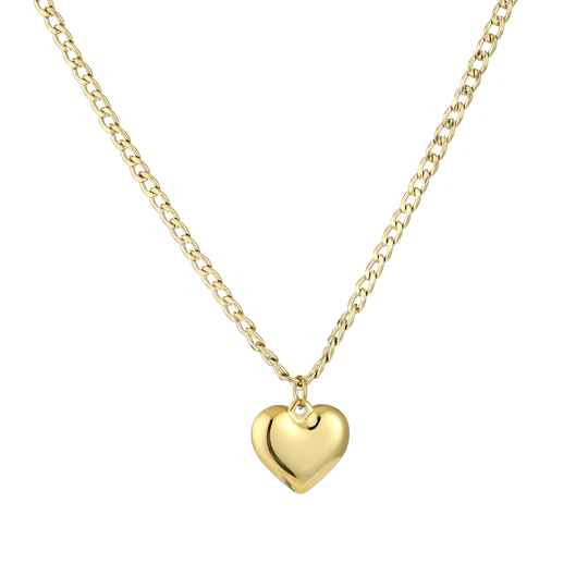 Chain necklace big heart | goud