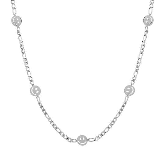 Chain necklace smiley | zilver