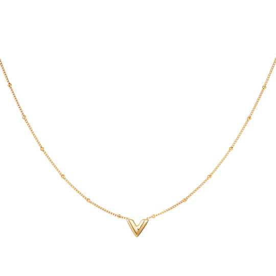 Necklace V small   goud