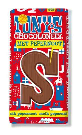 Tony chocolonely letter reep melk pepernoot 180gr