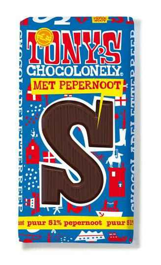 Tony chocolonely letter reep puur pepernoot 180gr