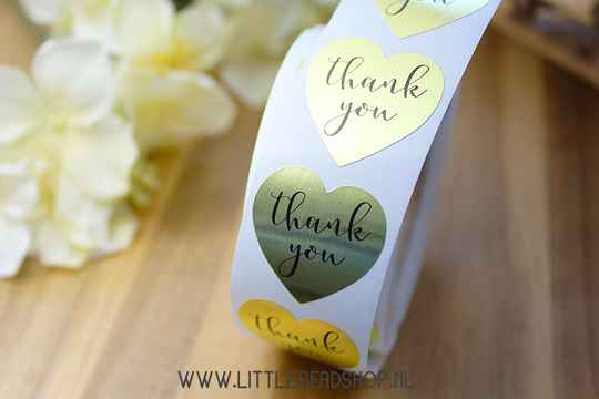 "Sluit Stickers ""Thank You"" Heart Gold 25mm - ST033"
