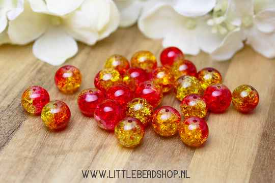 Glaskralen Crackle rood/geel 10mm - GK001