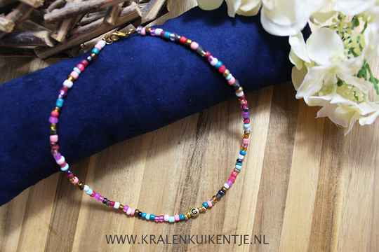 LS005 - Zomerse ketting met rocailles multicolour