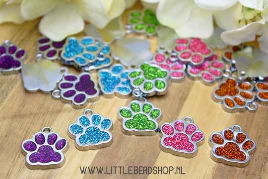 Emaille bedels Colorfull Paws 18x17mm - EB096