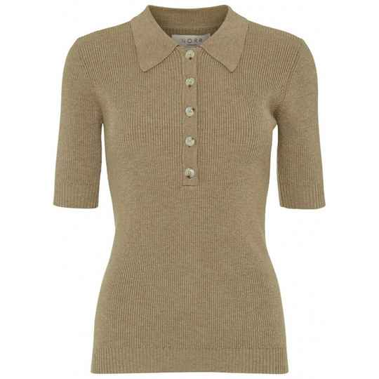 NORR CHELSEA KNIT TOP LIGHT BROWN MELANGE
