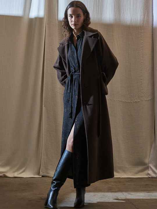 ANOTHER LABEL DOSILIA COAT CHOCOLATE BROWN