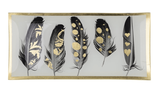 Love plates - Feather - Large - Zwart/Wit/Goud - 78322