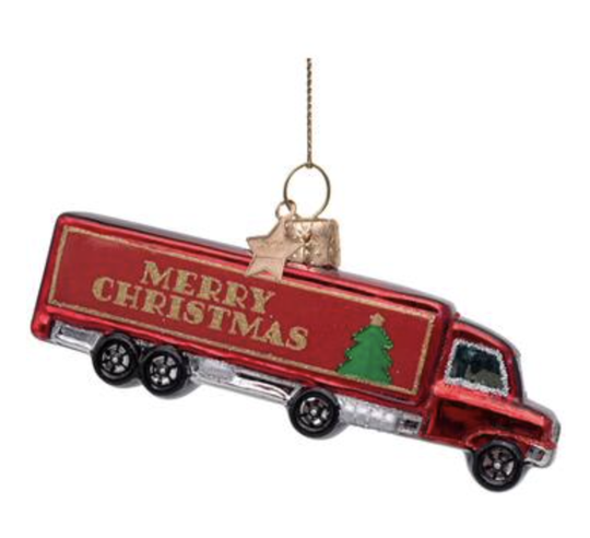 Vondels - Ornament glass - Red truck w/merry Christmas - H5cm - 1212720050015