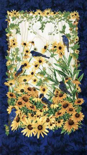 Flowers sunflowers with birds Panel 60x110cm