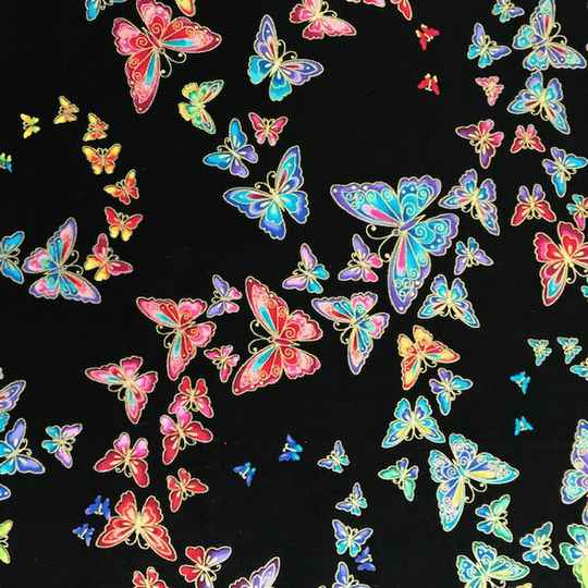 Insects  butterflies on black with metallic