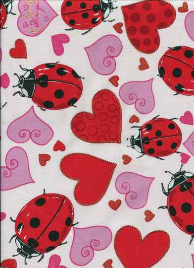 Insects lady bugs with hearts