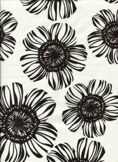 Black and white big flowers on white
