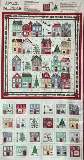 Christmas advent calender little houses Panel 60x110cm
