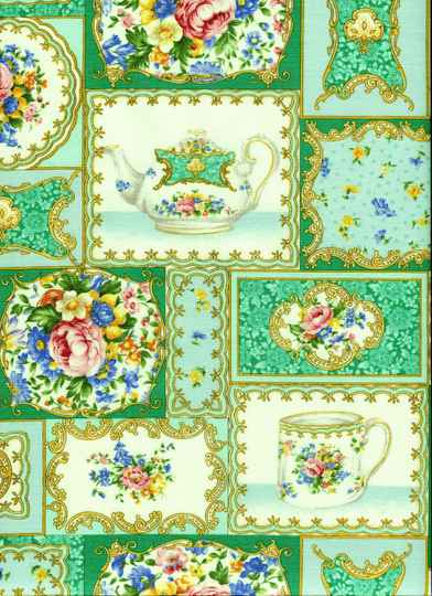 Romantic teacups on green and white 45 x 55 cm