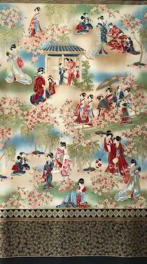 Japanese geishas 18621 with red with metallic Panel 60x110cm