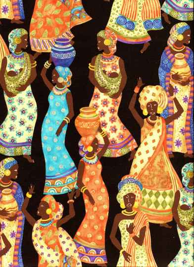 Countries African tribe on black