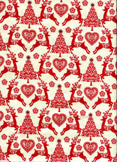 Christmas red and white with reindeer all over