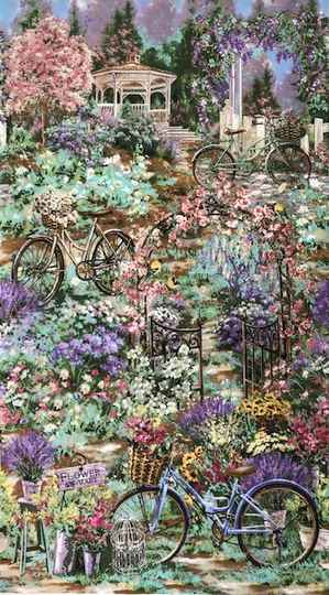 Romantic panel bicycles in flowergarden 60x110cm