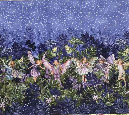 Flower Fairy night fairy border with metallic Panel 55x60cm