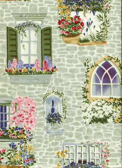 Stones and wood windows with flowers