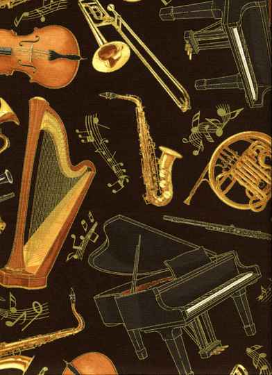 Music orcestra instruments with metallic