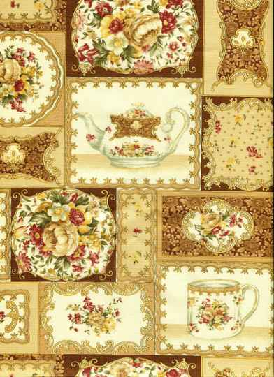 Romantic teacups on brown
