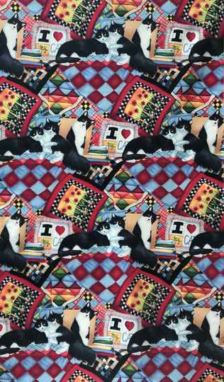 Cats and dogs panel quilt and cats 65x110cm