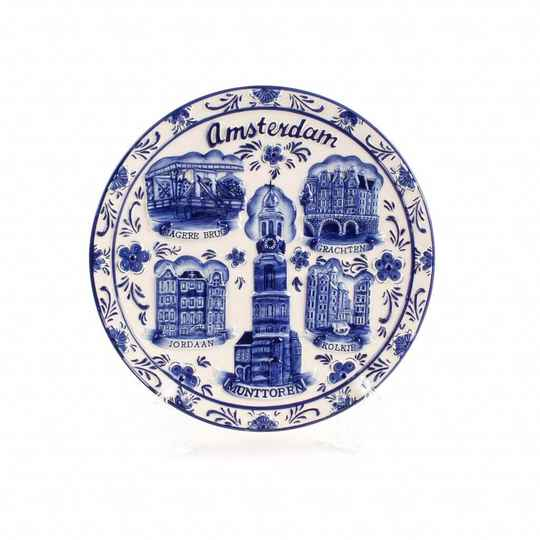 Delftblue plate Amsterdam highlights - 20cm