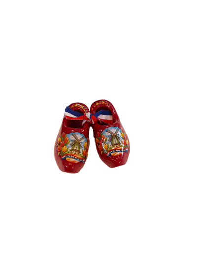 Wooden shoes 5 cm red