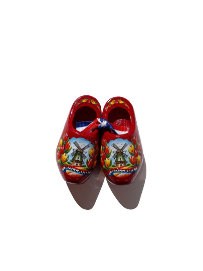 Wooden shoes 6 cm red
