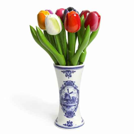 Delftblue vase with 9 wooden tulips