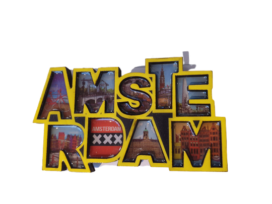 Magnet letters Amsterdam yellow