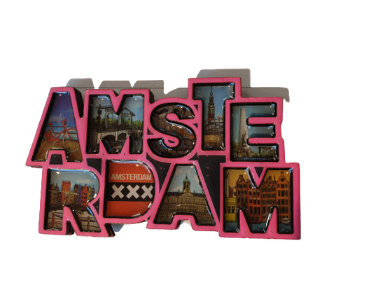 Magnet letters Amsterdam pink