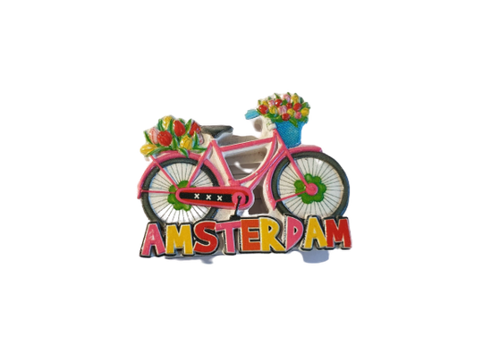 Magnet pink bike tulips