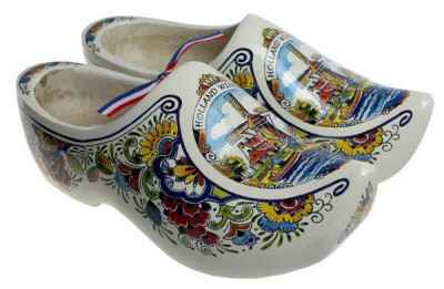 ''poly color''  wooden shoes