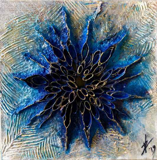 The Blue Star, abstract painting, canvas 3D 30/30cm, blue, gold