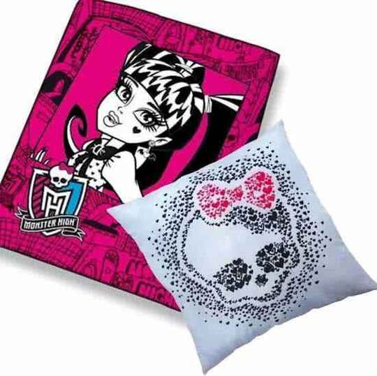 plaid monster high 110/140 + kussen monster high 40/40cm