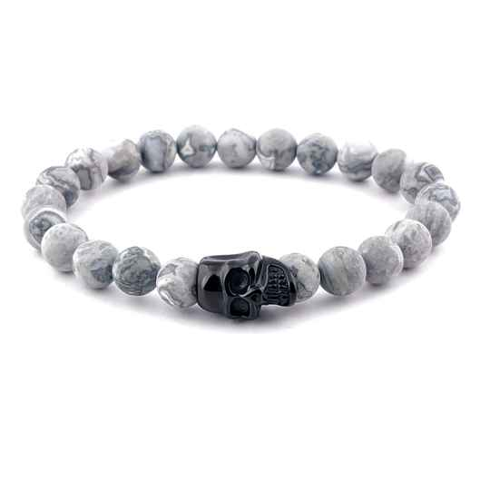 Skull bracelet with stones - Matt smoky