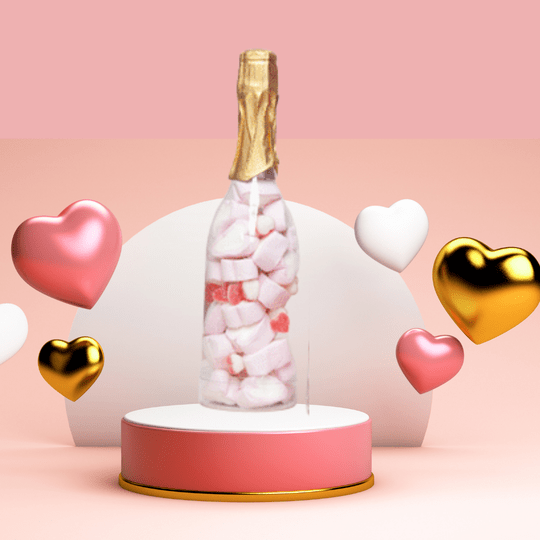 Luxe Marshmallows Champagne fles gevuld met harten ❤️