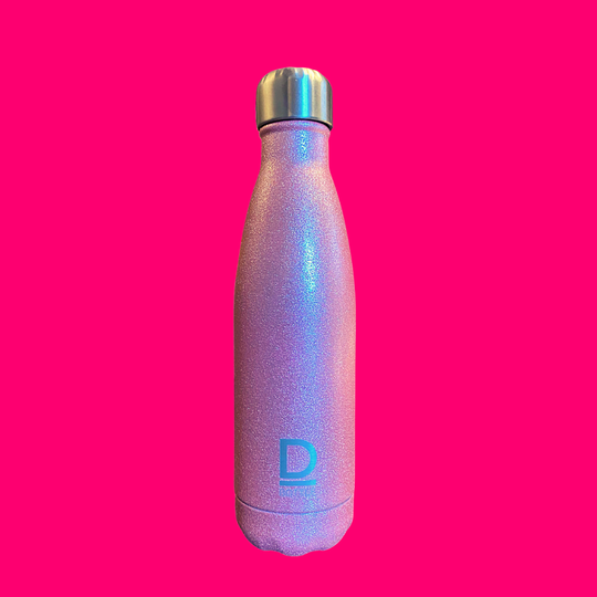 D-Bottle luxe waterfles Glitter pink.